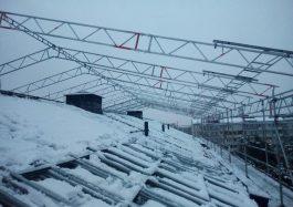 Temporary roof installation, Sweden